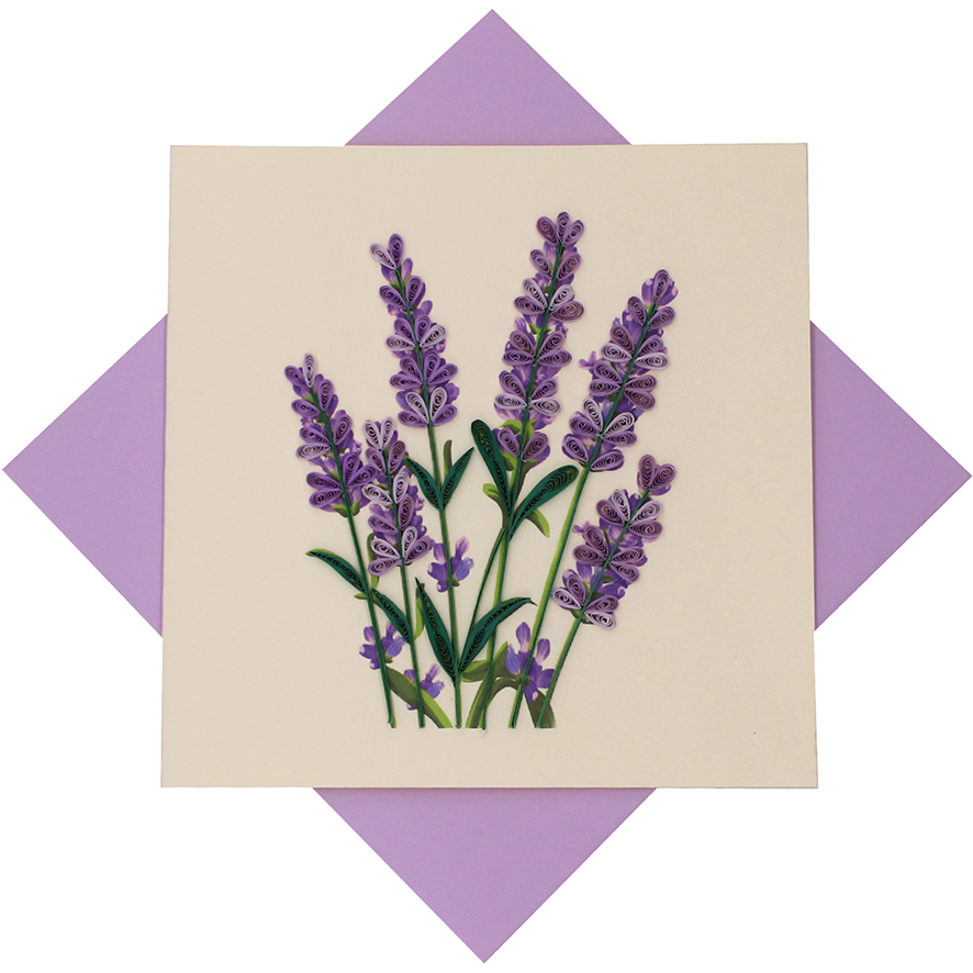 quilled lavender card  quilling flower greeting card