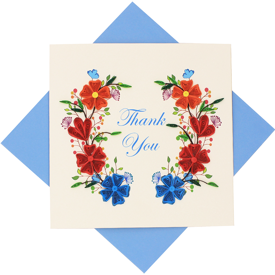 quilled thank you flower card  quilling greeting cards